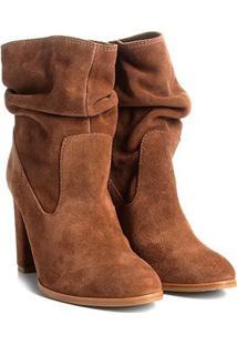 Bota Couro Cano Curto Shoestock Slouch Feminina - Feminino-Caramelo