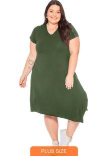 Vestido Feminino Básico Com Barra Diagonal Verde