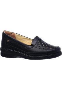Sapato Conforto Doctor Shoes Morton Couro Feminino - Feminino-Preto