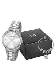 Kit Relógio Feminino Mondaine Analógico 53761L0Mkne3K1 + Pulseira Prateado