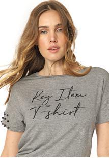 Camiseta Lunender Glitter Tachas Cinza