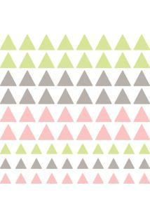 Adesivo De Parede Triangulos Verde, Cinza E Rosa 91Un