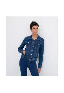 Jaqueta Jeans Básica De Moletom   Marfinno   Azul   Pp