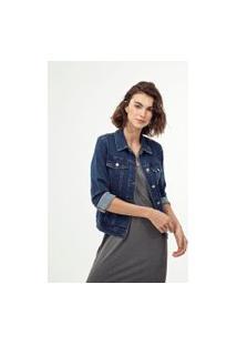 Jaqueta Jeans Básica De Moletom | Marfinno | Azul | Pp
