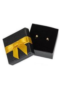 Brinco Ouro 18K Banhado Feminino Bolinha Dourada - Pequeno