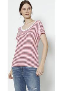 Camiseta Listrada- Branca & Vermelhalevis