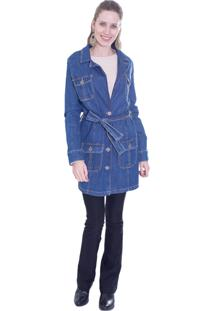 Casaco Trench Coat Gup'S Jeans Fancy Jeans Azul