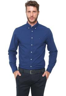 Camisa Tommy Hilfiger Reta Logo Azul-Marinho