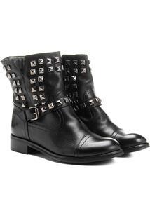 Bota Couro Biker Shoestock Pirâmides Feminina - Feminino-Preto
