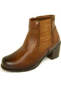 Bota Dhatz Ankle Boot Com Fecho Éclair Não Possui Cadarço Whisky
