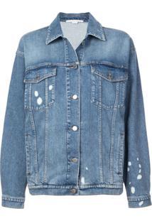 Stella Mccartney Jaqueta Jeans Com Respingos De Tintas - Azul
