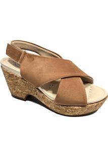 Sandália Plataforma Modare Tiras Ultraconforto Cortiça Feminina - Feminino-Caramelo