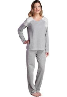 Pijama Longo Inspirate Ombro Rendado Feminino - Feminino-Cinza Claro