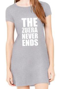 Vestido Criativa Urbana Estampado Zuera Never Ends Frases - Feminino-Cinza