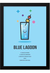 Quadro Adoraria A4 Drink Bebida Coquetel Blue Lagoon Preto