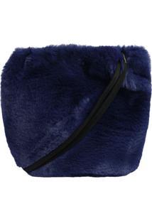 Bolsa Marceli Em Pelúcia - Azul Marinho & Preta - 30Le Lis Blanc