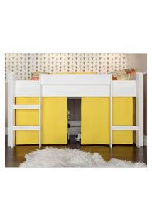 Cama Elevada Com Escada E Espaço Para Brincar Amarela Lilies