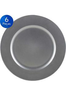Jogo De 6 Sousplat Silver 33 Cm - Bon Gourmet - Cinza