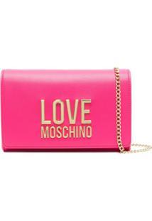 Love Moschino Bolsa Transversal Com Placa De Logo E Alça De Corrente - Rosa