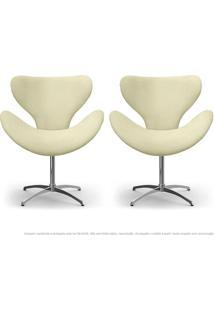 Kit De 02 Cadeiras Decorativas Poltronas Egg Areia Com Base Giratória