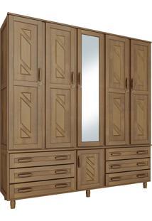 Guarda-Roupa Paris Casal Imbuia Com Espelho 5 Portas 6 Gavetas E Maleiro Madeira Maciça De Pinus Cavazotto