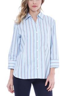 Camisa Moché 3/4 - Feminino-Azul