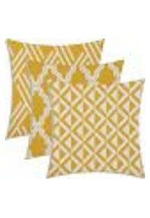 Conjunto Com 3 Capas Para Almofadas Suede Geométrico Amarelo 43X43Cm