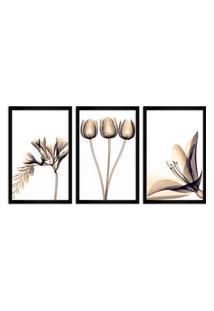Quadro Oppen House 60X120Cm Flores Abstrato Transparentes Moldura Preta Estilo Raio X Decorativo Interiores Mod:Oh002