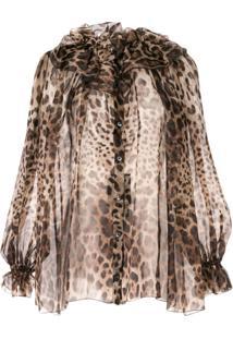 Dolce & Gabbana Blusa Translúcida Animal Print - Marrom