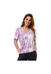 Camiseta Aura Decote V Tie Dye Lilás