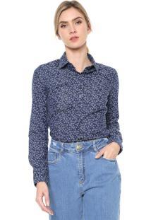 Camisa Jeans Dudalina Estrelas Azul-Marinho