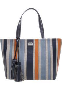 Bolsa Listrada Com Bag Charm- Azul & Laranja- 26X32Xarezzo & Co.
