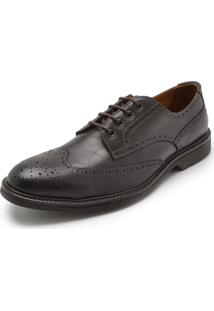 Sapato Couro Richards Brogue Marrom