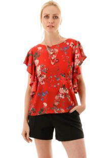 Blusa Aha Floral Com Babado Flare Vermelha