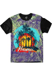 Camiseta Long Beach Hawaii Coqueiros Sublimada Masculina - Masculino-Roxo+Preto