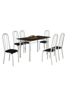 Mesa De Jantar Realeza 6 Cadeiras Lírio Branca E Tampo Preto