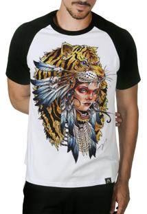Camiseta Artseries Índia Tigre Colorida Branco