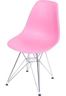 Cadeira Eames Polipropileno Rosa Pink Cromada - 36752 - Sun House