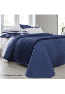 Jogo De Cama Palace King Size- Azul Escuro & Branco-Sultan