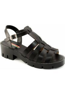 Sandália Tratorada Numeração Especial Sapato Show - Feminino-Preto