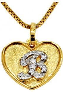 Pingente Em Ouro 18K Coração Com Letra B Com 5 Diamantes - Pg20105