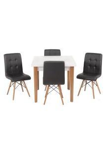 Conjunto Mesa De Jantar Luiza 80Cm Branca Com 4 Cadeiras Gomos - Preto