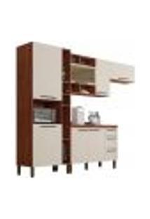 Cozinha Modulada Compacta 5 Peças Viv Concept C01 Nogueira/Off White - Kit´S Paraná