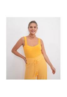 Blusa Super Cropped Lisa Sem Mangas | Blue Steel | Amarelo | Pp