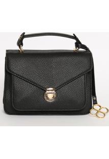 Bolsa Texturizada Com Bag Charm- Preta- 15,5X21,5X6,Fedra