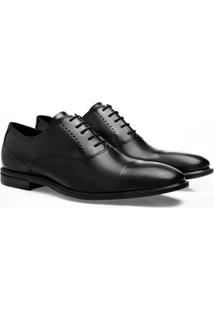 Sapato Social Brogan Bico Redondo Carnegie Masculino - Masculino-Preto