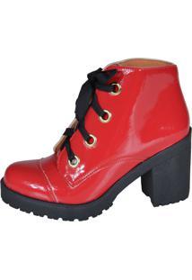 Bota Cano Curto Factor Fashion 1003 Vermelha