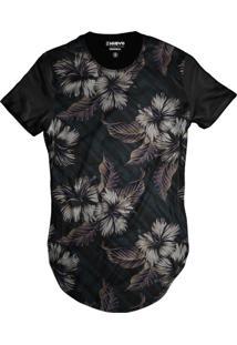 Camiseta Di Nuevo Longa Florida Casual Havaiana Swag Preta