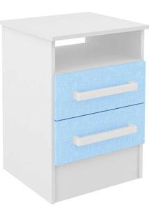 Mesa De Cabeceira D112.1 - Rodial - Branco / Azul
