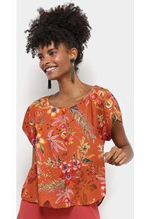 Blusa Cantão Cropped Estampa Floral Feminina - Feminino